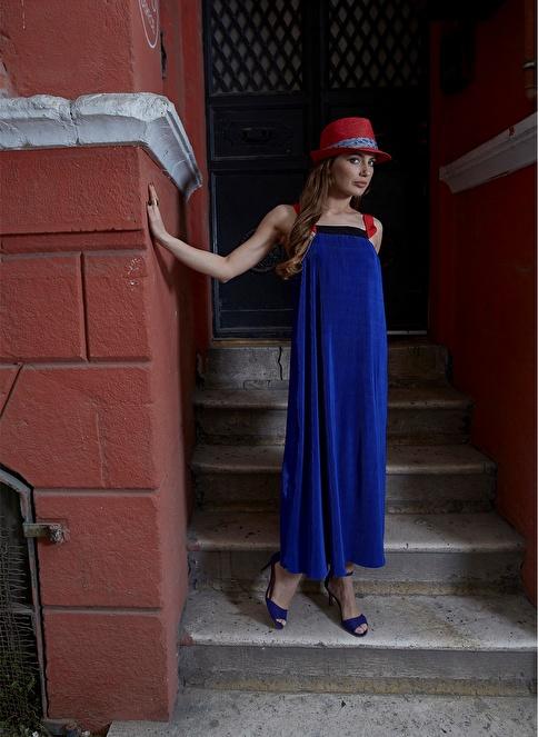 Laslusa İçten Ayarlanabilir Hasır Fötr Kuşaklı Şapka Kırmızı